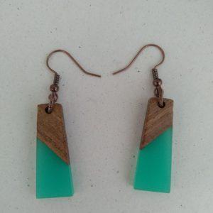 σκουλαρίκια ξύλο & ρητίνη